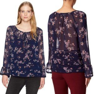 Jolt Navy Floral Pleated Bell Sleeve Top Size S